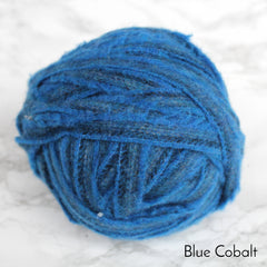 Ball of bright Blue colour 100% wool blanket yarn in plain striped pattern