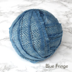 Ragged Life Rag Rug Blanket Yarn 100% Wool for Rag Rugging Crochet in Strips in Blue Fringe