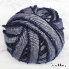 Ragged Life Rag Rug Blanket Yarn 100% Wool for Rag Rugging Crochet in Strips in Blue Navy Dark and Light Blue Stripe