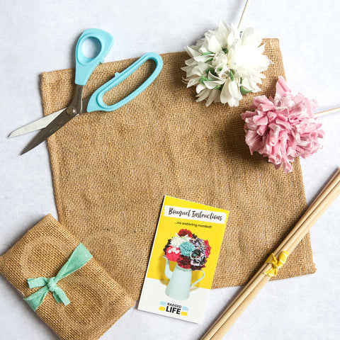 Ragged Life Bouquet Hessian Stems and Instructions to make a rag rug bouquet