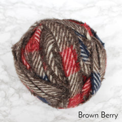 Ragged Life Rag Rug Blanket Yarn 100% Wool for Rag Rugging Crochet in Strips in Brown Berry Grey Red and Blue