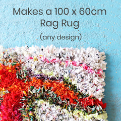 Make a proggy or hooked rag rug with this introductory rag rug kit for beginners