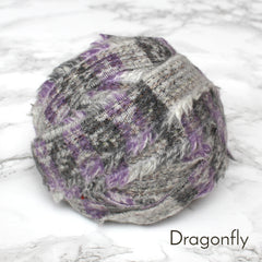 Ragged Life Rag Rug Blanket Yarn 100% Wool for Rag Rugging Crochet in Strips in Dragonfly Grey and Purple