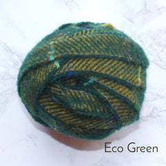 Ragged Life Rag Rug Blanket Yarn 100% Wool for Rag Rugging Crochet in Strips in Eco Green with Yellow