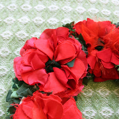 Edge of rag rug poppy wreath