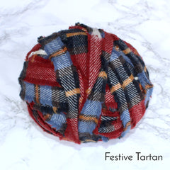 Ragged Life Rag Rug Blanket Yarn 100% Wool for Rag Rugging Crochet in Strips in Festive Blue Red Tartan