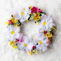 Handmade white spring rag rug wreath upcycled
