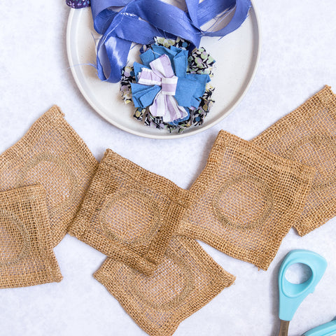 Ragged Life Hemmed hessian to make five rag rug flowers 10 holes per inch (10HPI)