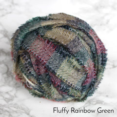 Ragged Life Rag Rug Blanket Yarn 100% Wool for Rag Rugging Crochet in Strips in Fluffy Rainbow Moss coloured green