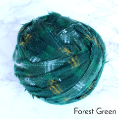 Ragged Life Rag Rug Blanket Yarn 100% Wool for Rag Rugging Crochet in Strips in Forest Green Dark green stripes