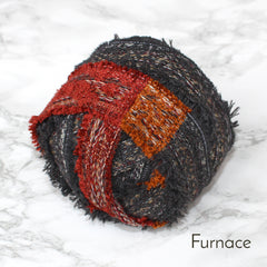 Ragged Life Rag Rug Blanket Yarn 100% Wool for Rag Rugging Crochet in Strips in Furnace Grey, Red and Orange