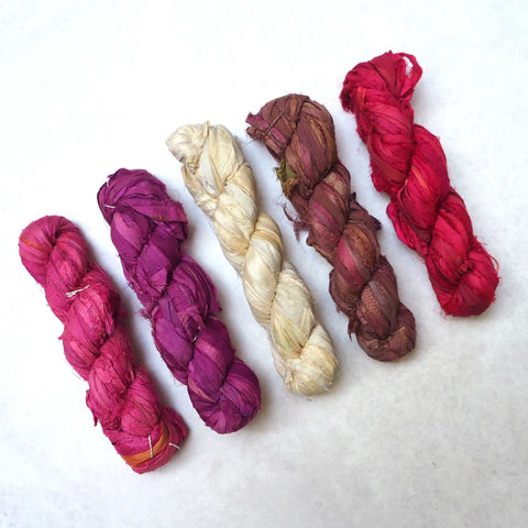 Ragged Life Recycled Sari Silk Ribbon for textile art, jewellery making, crochet, knitting and rag rug making
