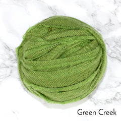 Ragged Life Rag Rug Blanket Yarn 100% Wool for Rag Rugging Crochet in Strips in Green Creek