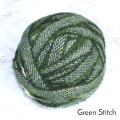 Ragged Life Rag Rug Blanket Yarn 100% Wool for Rag Rugging Crochet in Strips in Dark Green Stitch