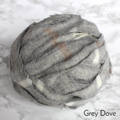 Ragged Life Rag Rug Blanket Yarn 100% Wool for Rag Rugging Crochet in Strips in cream and grey striped