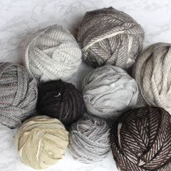 Ragged Life selection of neutral coloured balls of blanket yarn for sale in 500g and 1kg lots.