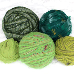 Ragged Life Rag Rug Blanket Yarn 100% Wool for Rag Rugging Crochet in Strips. Group of Mixed Green Colours.