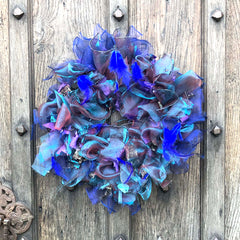 Blue and feather rag rug festive wreath