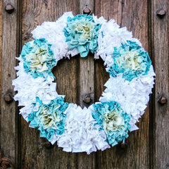 White and Blue Rag Rug Christmas Wreath Made of Textile Waste