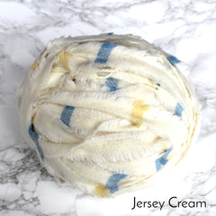 Ragged Life Rag Rug Blanket Yarn 100% Wool for Rag Rugging Crochet in Strips in Cream with Blue and Yellow