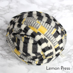 Ragged Life Rag Rug Blanket Yarn 100% Wool for Rag Rugging Crochet in Strips in Black, white, yellow and grey striped