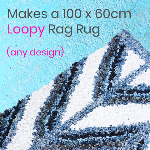 Ragged Life Loopy Rag Rug Kit to Make Hooked Rugs from Old Clothing