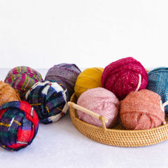 Ragged Life Balls of Blanket Offcuts in basket