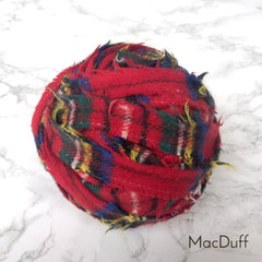 Ragged Life Rag Rug Blanket Yarn 100% Wool for Rag Rugging Crochet in Strips in MacDuff Red Tartan