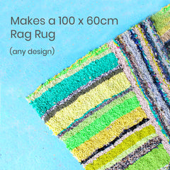 Green striped loopy rag rug made using a Ragged Life rag rug kit in the UK