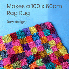 100 x 60cm checked short shaggy rag rug
