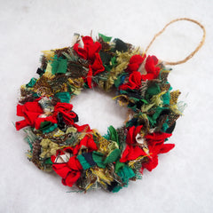 Sparkly shaggy Christmas wreath decoration for the tree