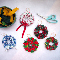 Group of mini rag rug wreaths