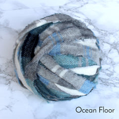 Ragged Life Rag Rug Blanket Yarn 100% Wool for Rag Rugging Crochet in Strips in Ocean Floor Blue Black Grey and White