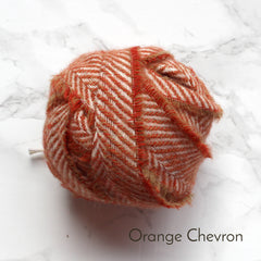 Ragged Life Rag Rug Blanket Yarn 100% Wool for Rag Rugging Crochet in Strips in Orange Chevron