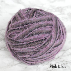 Lilac purple ball of 100% wool blanket yarn.