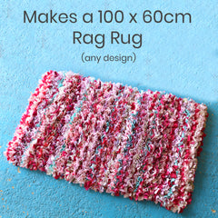 Learn how to make a traditional hessian rag rug with this beginners rag rug kit