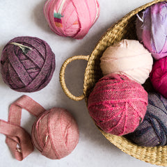 Ragged Life Pink and Purple balls of Wool Blanket Yarn for making rag rugs. Cashmere and lambswool.