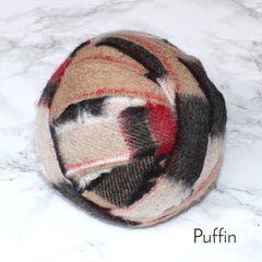 Ragged Life Rag Rug Blanket Yarn 100% Wool for Rag Rugging Crochet in Strips in Puffin Brown, Grey, Red and White