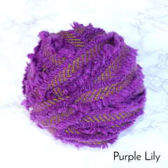 Ragged Life Rag Rug Blanket Yarn 100% Wool for Rag Rugging Crochet in Strips in Purple Lily Green Stitch