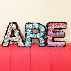Personalised Ragged Life handmade colourful rag rug letters for home decoration