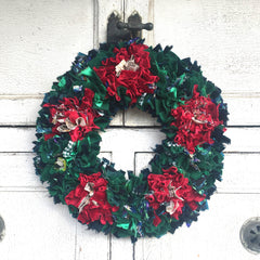 Traditional Rag Rug Christmas Wreath Made of Recycled Clothing