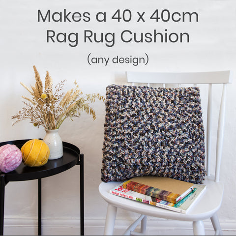 Ragged Life Rag Rug Cushion Kit with latch hook, gauge, marker pen, hemmed cushion hessian how to instructions.
