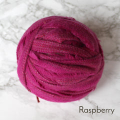 Ragged Life Rag Rug Blanket Yarn 100% Wool for Rag Rugging Crochet in Strips in Raspberry