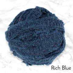 Ragged Life Rag Rug Blanket Yarn 100% Wool for Rag Rugging Crochet in Strips in Rich Blue