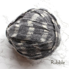 Ragged Life Rag Rug Blanket Yarn 100% Wool for Rag Rugging Crochet in Strips in Rubble Grey Check