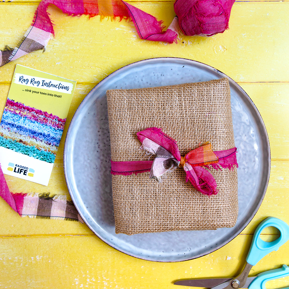 Ragged Life Rag Rug Hessian Burlap (10 holes per inch weave) tied up with fabric strip