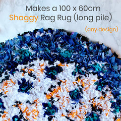 Blue and White shaggy circular rag rug