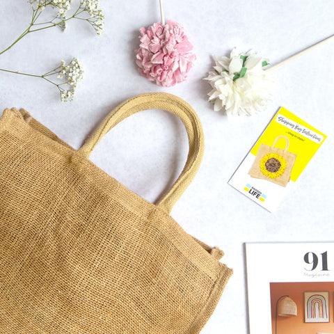 Ragged Life Hessian Shopping Bag for Rag Rugging