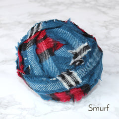 Ragged Life Rag Rug Blanket Yarn 100% Wool for Rag Rugging Crochet in Strips in Smurf Blue and Red