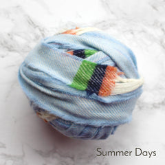 Ragged Life Rag Rug Blanket Yarn 100% Wool for Rag Rugging Crochet in Strips in Summer Days Light Blue, Green and Orange